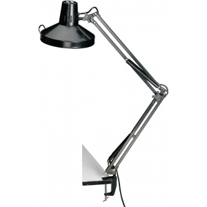 "Alvin® Black Swing-Arm Combination Lamp with CFL Bulb: Black/Gray, 10"" & Up, Swing-Arm, 26-75w, 8-25w, (model CLCFL1755-B), price per each"
