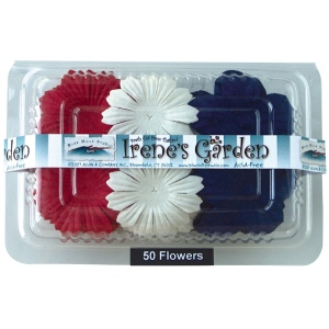 "Blue Hills Studio™ Irene's Garden™ Box O'Blooms Flower Pack Red/White/Blue: Multi, Paper, 2""+, Dimensional"