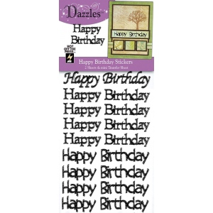 "Dazzles™ Happy Birthday Greetings Silver Glitter Stickers: Black/Gray, 4"" x 9"", Flat, (model HOTP1909), price per each"