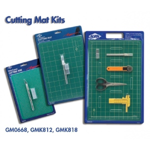 "Alvin® Self-Healing Cutting Mat Kit 8 1/2 x 12: Black/Gray, Green, Grid, Vinyl, 8 1/2"" x 12"", 3mm, Cutting Mat, (model GMK812), price per set"