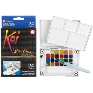 Koi™ Watercolor Paint Pocket Field Sketch 24-Color Set: Multi, Pan, Watercolor