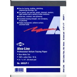 "Alvin® Alva-Line Tracing Paper with Title Block and Border 100-Sheet Pack 11 x 17: Sheet, 100 Sheets, 11"" x 17"", Tracing, (model 6855-B-3), price per 100 Sheets"