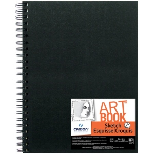 "Canson® ArtBook™ Artist Series 9"" x 12"" Wirebound Sketchbook: Wire Bound, White/Ivory, Book, Black/Gray, 80 Sheets, 9"" x 12"", Sketching, 65 lb, (model C100510429), price per each"