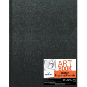 "Canson® ArtBook™ Artist Series 11"" x 14"" Hardbound Sketchbook: Sewn Bound, White/Ivory, Book, Black/Gray, 108 Sheets, 11"" x 14"", Sketching, 65 lb"