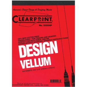 "Clearprint® 1000H Series 22 x 34 Unprinted Vellum 100-Sheet Pack: Pad, Unprinted, 100 Sheets, 22"" x 34"", 16 lb, (model CP10201526), price per 100 Sheets"