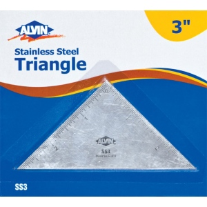 "Alvin® 3"" Triangle Stainless Steel Ruler: Metallic, Steel, 3"", Ruler, (model SS3), price per each"