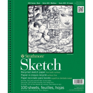 "Strathmore® 400 Series 9"" x 12"" Wire Bound Recycled Sketch Pad: Wire Bound, White/Ivory, Pad, 100 Sheets, 9"" x 12"", Recycled Sketch, 60 lb, (model ST457-9), price per 100 Sheets pad"