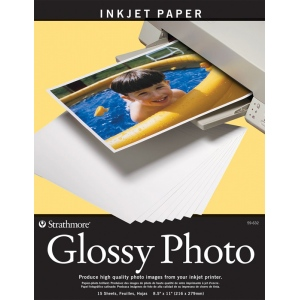 "Strathmore® 8.5"" x 11"" Glossy Inkjet Paper: White/Ivory, 15 Sheets, 8 1/2"" x 11"", Gloss, (model ST59-632), price per 15 Sheets"