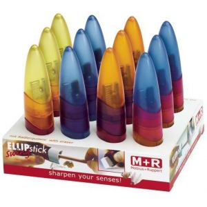 M + R Ellipstick Ellipstick Eraser/Sharpener Display: Assorted, One, Metal, Plastic, Rubber, Manual, (model 0945D), price per each