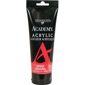 Grumbacher® Academy® Acrylic Paint 200ml Cadmium Red Medium Hue: Red/Pink, Tube, 200 ml, Acrylic