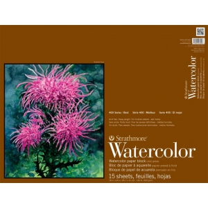 "Strathmore® 400 Series 18"" x 24"" Cold Press Watercolor Blocks: White/Ivory, Block, 15 Sheets, 18"" x 24"", Cold Press, 140 lb, (model ST472-18), price per each"