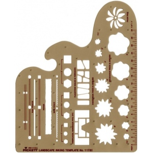 "Pickett® Landscape Template: 1/4"" = 1', 7"" x 8 1/4"" x .030"", Architectural, (model 1178I), price per each"