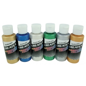 Createx™ Airbrush Pearlescent 6-Color Set: Multi, Bottle, 2 oz, Airbrush, (model 5804-00), price per set