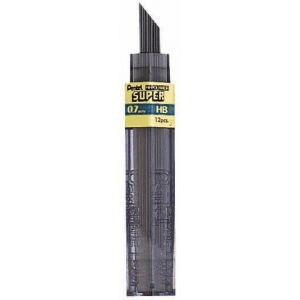 Pentel® Super Hi-Polymer® Lead .7mm 2B: 2B, Black/Gray, .7mm, 12-Pack, Lead, (model 50-7-2B), price per tube