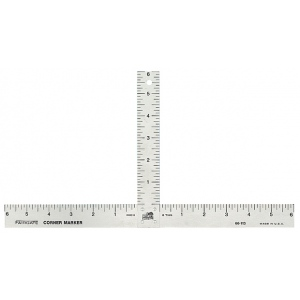 "Fairgate® Aluminum Matte Marking T-Square: Metallic, Aluminum, 12"" x 6"", Ruler, (model 417), price per each"