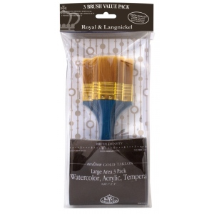Royal & Langnickel® Zip N' Close™ Flat Gold Taklon Brush Set: Gold Taklon, Flat, Multi, (model RSET-9352), price per set
