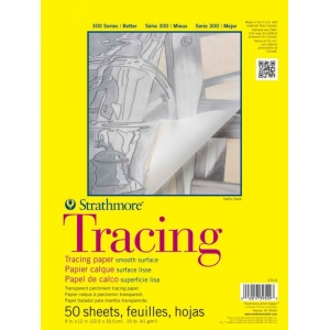 "Strathmore® 300 Series 11"" x 14"" Tape Bound Tracing Pad: Tape Bound, Pad, 50 Sheets, 11"" x 14"", Smooth, 25 lb, (model ST370-11), price per 50 Sheets pad"