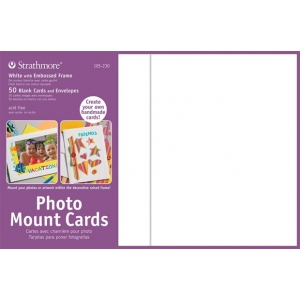 "Strathmore® Photo Mount Cards 50-Pack White: White/Ivory, Envelope Included, Card, 50 Cards, 5"" x 6 7/8"", 80 lb, (model ST105-230), price per 50 Cards"