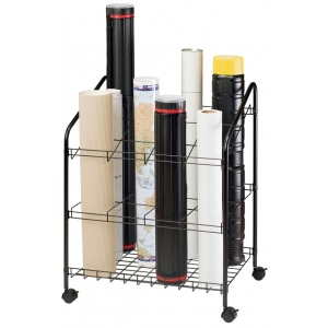 "Alvin® Wire Bin Roll File 12 Slots: 12 Slots, Black/Gray, Steel, 18""d x 24""w x 30""h, (model WRF55), price per each"