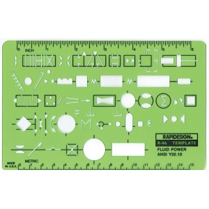 "Rapidesign® Fluid Power Template: 4 1/2"" x 7"" x .030"", Mechanical, (model 46R), price per each"