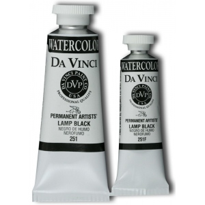Da Vinci Artists' Watercolor Paint 37ml Lamp Black: Black/Gray, Tube, 37 ml, Watercolor, (model DAV251), price per tube