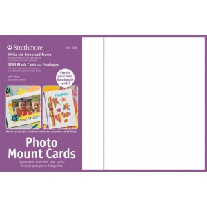 "Strathmore® Photo Mount Cards 100-Pack White: White/Ivory, Envelope Included, Card, 100 Cards, 5"" x 6 7/8"", 80 lb, (model ST105-680), price per 100 Cards"