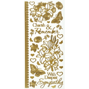 "Dazzles™ Stickers Gold Sympathy: Metallic, 4"" x 9"", Outline, (model HOTP2117), price per each"
