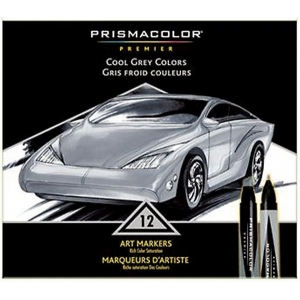 Prismacolor® Premier Art Marker 12-Color Cool Grey Set: Multi, Double-Ended, Alcohol-Based, Dye-Based, Extra Broad Nib, Fine Nib, (model BP12P), price per set
