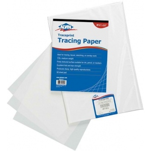 "Alvin® Traceprint Tracing Paper 100-Sheet Pad 24"" x 36"": Fold Over, White/Ivory, Sheet, 100 Sheets, 24"" x 36"", Tracing, 17 lb"