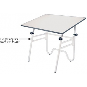 Alvin® Opal Table White Base White Top Height/Angle Adjustment