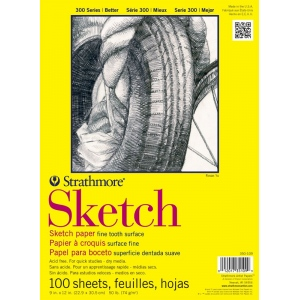 "Strathmore® 300 Series 14"" x 17"" Glue Bound Sketch Pad: Glue Bound, White/Ivory, Pad, 100 Sheets, 14"" x 17"", 50 lb, (model ST350-114), price per 100 Sheets pad"