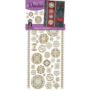 "Dazzles™ Stickers Buttons Silver: Metallic, 4"" x 9"", Flat, (model HOTP1916), price per each"