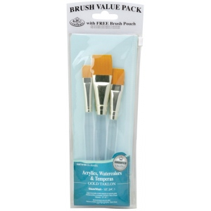 Royal & Langnickel® 9100 Series  Zip N' Close™ Teal Blue 3-Piece Brush Set 7: Short Handle, Taklon, Glaze, Acrylic, Tempera, Watercolor, (model RSET-9160), price per set