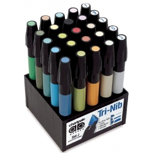 Chartpak® AD™ Marker 25-Color Architectural Set: Multi, Xylene-Based, Fine Nib