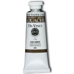 Da Vinci Artists' Gouache Opaque Watercolor 37ml Raw Umber: Brown, Tube, 37 ml, Gouache, Watercolor, (model DAV474), price per tube