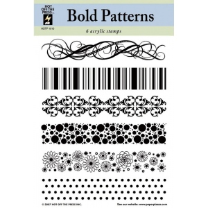 "Hot Off the Press Clear Acrylic Stamp Set Bold Patterns: Acrylic, No, 5 1/2"" x 7"""