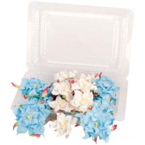 "Blue Hills Studio™ Irene's Garden™ Box O'Gardenias Dimensional Paper Flowers Blue/White: Black/Gray, White/Ivory, Paper, 2"", 3"", Dimensional, (model BHS107520), price per box"