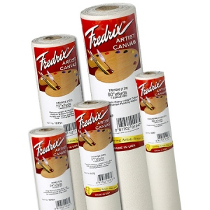 "Fredrix® Artist Series 63 x 100yd Acrylic Primed Cotton Canvas Roll: White/Ivory, Roll, Cotton, 64 1/2"" x 100 yd, Acrylic, Primed"