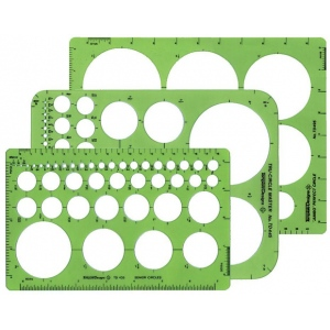 "Alvin® Circle Guide Template Set: 3-Pack, 1/32"" - 3 1/2"", (model TD404), price per set"