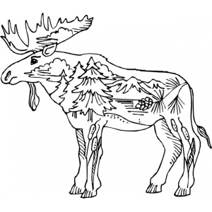 Sarasota Stamps Mounted Rubber Stamp: Deco Moose