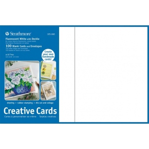 "Strathmore® 5 x 6.875 Fluorescent White/Deckle Creative Cards 100-Pack: White/Ivory, Envelope Included, Card, 100 Cards, 5"" x 6 7/8"", 80 lb, (model ST105-660), price per 100 Cards"