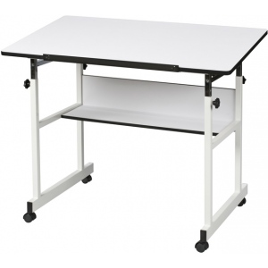 "Alvin® MiniMaster™ II Table White Base with White Top: 0 - 30, White/Ivory, Steel, 29"" - 41"", White/Ivory, 24"" x 40"", (model MM40-4-XB), price per each"