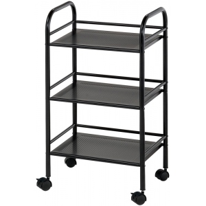 "Blue Hills Studio™ Storage Cart 3-Shelf Black: Black/Gray, Plastic, 3-Shelf, 12""d x 4 1/4""w x 29 3/4""h"