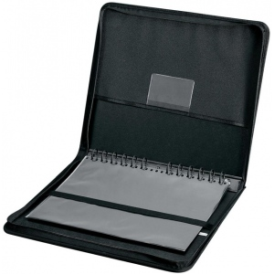 "Prestige™ Elegance™ Series Presentation Case 8.5 x 11: Black/Gray, Vinyl, 10 Pages, 10 Protective Sleeves, 8 1/2"" x 11"", (model PCA811), price per each"