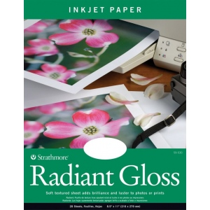 "Strathmore® 8.5"" x 11"" Radiant Gloss Inkjet Paper: White/Ivory, 20 Sheets, 8 1/2"" x 11"", Radiant Gloss, 69 lb, (model ST59-530), price per 20 Sheets"