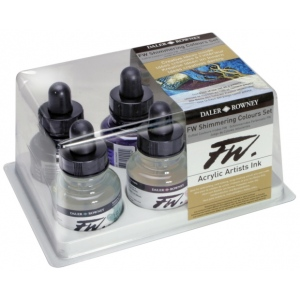 FW Liquid Artists' Acrylic Ink 6-Color Shimmering Set: Metallic, Bottle, Acrylic, 1 oz