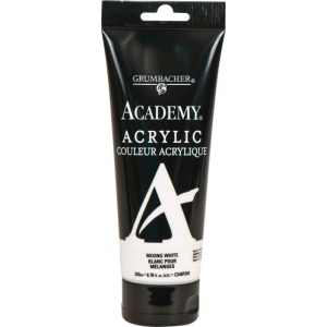 Grumbacher® Academy® Acrylic Paint 200ml Mixing White: White/Ivory, Tube, 200 ml, Acrylic, (model GBC248P200), price per tube