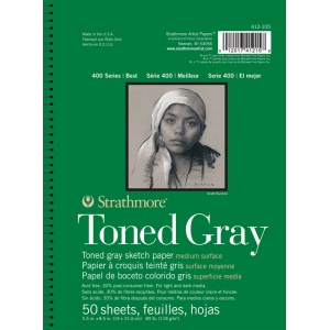 "Strathmore® 400 Series 5 1/2"" x 8 1/2"" Toned Gray Wire Bound Sketch Pad: Black/Gray, Pad, 50 Sheets, 5 1/2"" x 8 1/2"", Sketching, (model ST412-105), price per 50 Sheets pad"