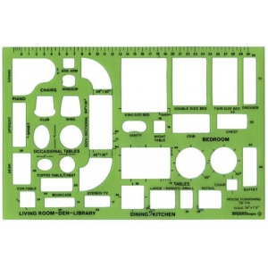 "Alvin® Design Templates House Furnishings Template: 1/4"" = 1', (model TD714), price per each"