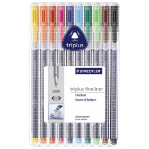 Staedtler® Triplus® Fineliner Pen 10-Color Set: Multi, Dye-Based, .3mm, Fine Nib